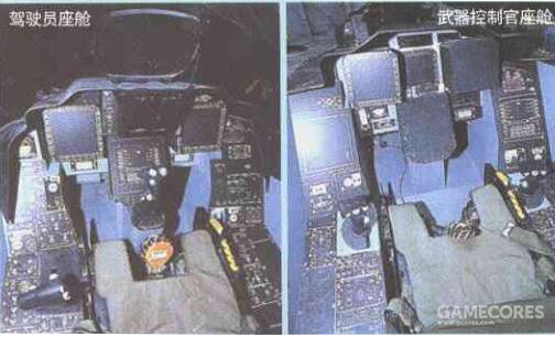 不过大部分是彩色阴极射线技术的显示器。最先进的则是前后座舱各一个的8英寸战术态势显示器。其采用了当时最先进的AMLCD(有源矩阵液晶)技术。