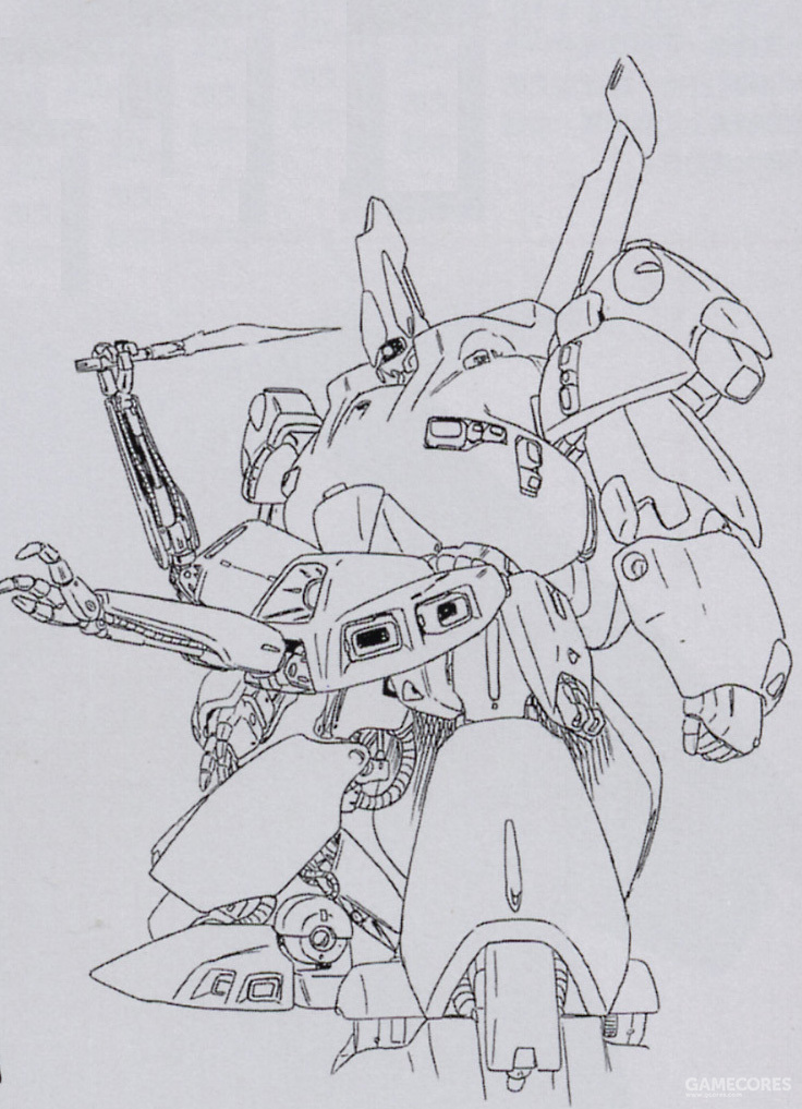 PMX-003的隐藏式机械臂设计足以对常见的MS格斗战应对模式产生颠覆性的破坏。无论是双方剑刃相格时突然从死角伸出的光束刀刃,还是配合双臂轮流挥下四把光束军刀都足以让对手手忙脚乱。
