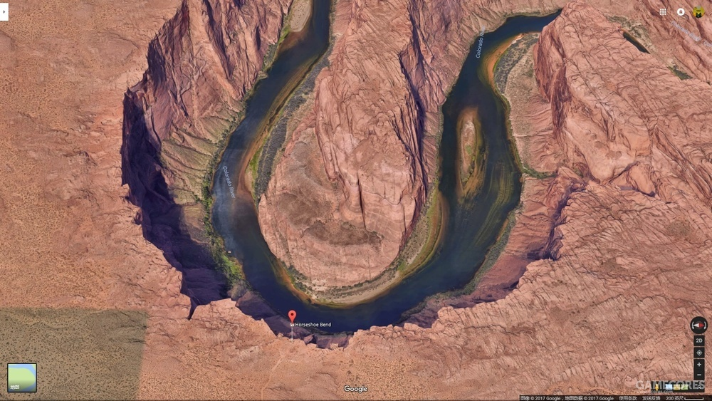 Google Earth中的马蹄湾