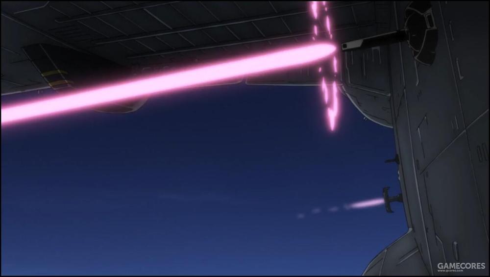机体各个方向都有复数光束炮台覆盖。考虑到迦楼罗级不低的飞行高度,搭载的火力对于防空作战而言完全够用。
