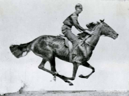 """马在奔跑时,会有四蹄离地的""""波峰""""(图片来自埃德沃德·迈布里奇于1870年利用多台相机连续拍摄而成的""""电影""""《奔马》)"""