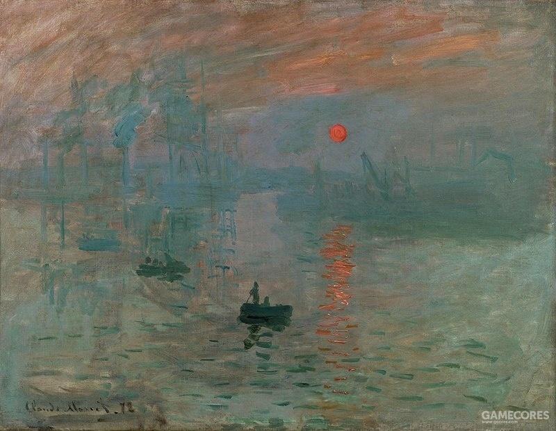 """1872年《日出》,莫奈。作为印象派代表人物之一,开启了艺术中的美源自观者感受的风潮。自此开始艺术脱离过去""""对现实的临摹"""",向美学相对主义大踏步迈进。"""