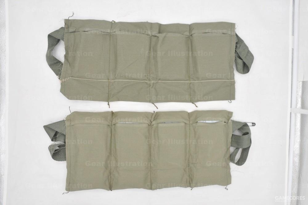 M8型,可容纳12个十发5.56mm桥夹,抽掉白线之后可容纳4个30发M16步枪弹匣。这种装具至今仍然是5.56mm弹药的出厂原配装具