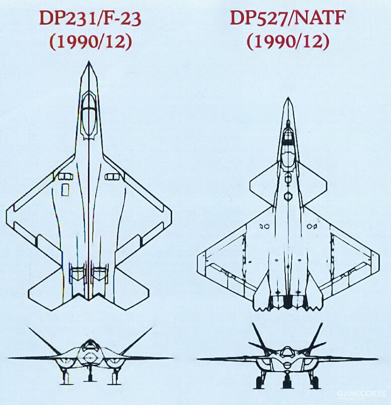 相比同期F-23的设计,DP527构型除了机体大幅缩短,翼展也有所加宽。