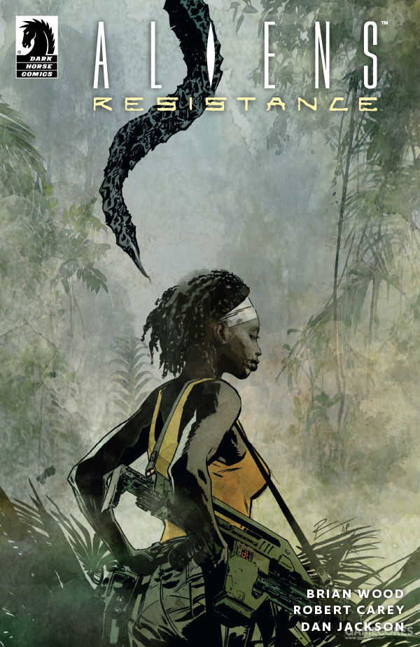 《抵抗》第三期的变体封面,祖拉与丛林中的异形