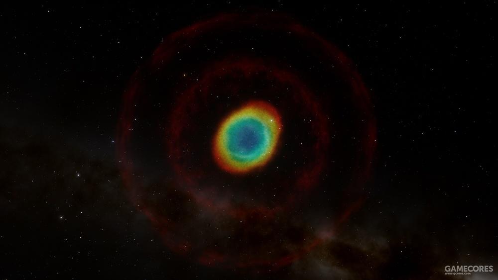 M57环状星云,这是一颗大约1。4-2倍太阳质量的恒星在超新星爆发后留下的遗迹,在Space Engine当中依然能看到两道红色的激波,在星云的核心处有一对白矮星