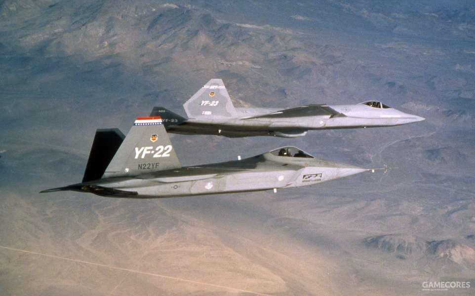 资源最丰富的空军ATF项目完全遵照了标准的开发程序。YF-22和YF-23进行的便是Dem/Val阶段的对比试飞。
