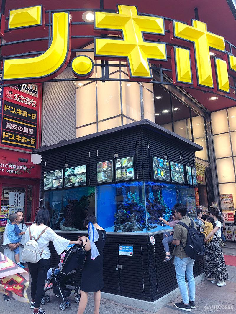 和歌舞伎町的那家堂吉诃德不同的是,这家店的1层门口摆放着一个看起来很豪华的巨大鱼缸,养殖着很多我不认识的水生生物