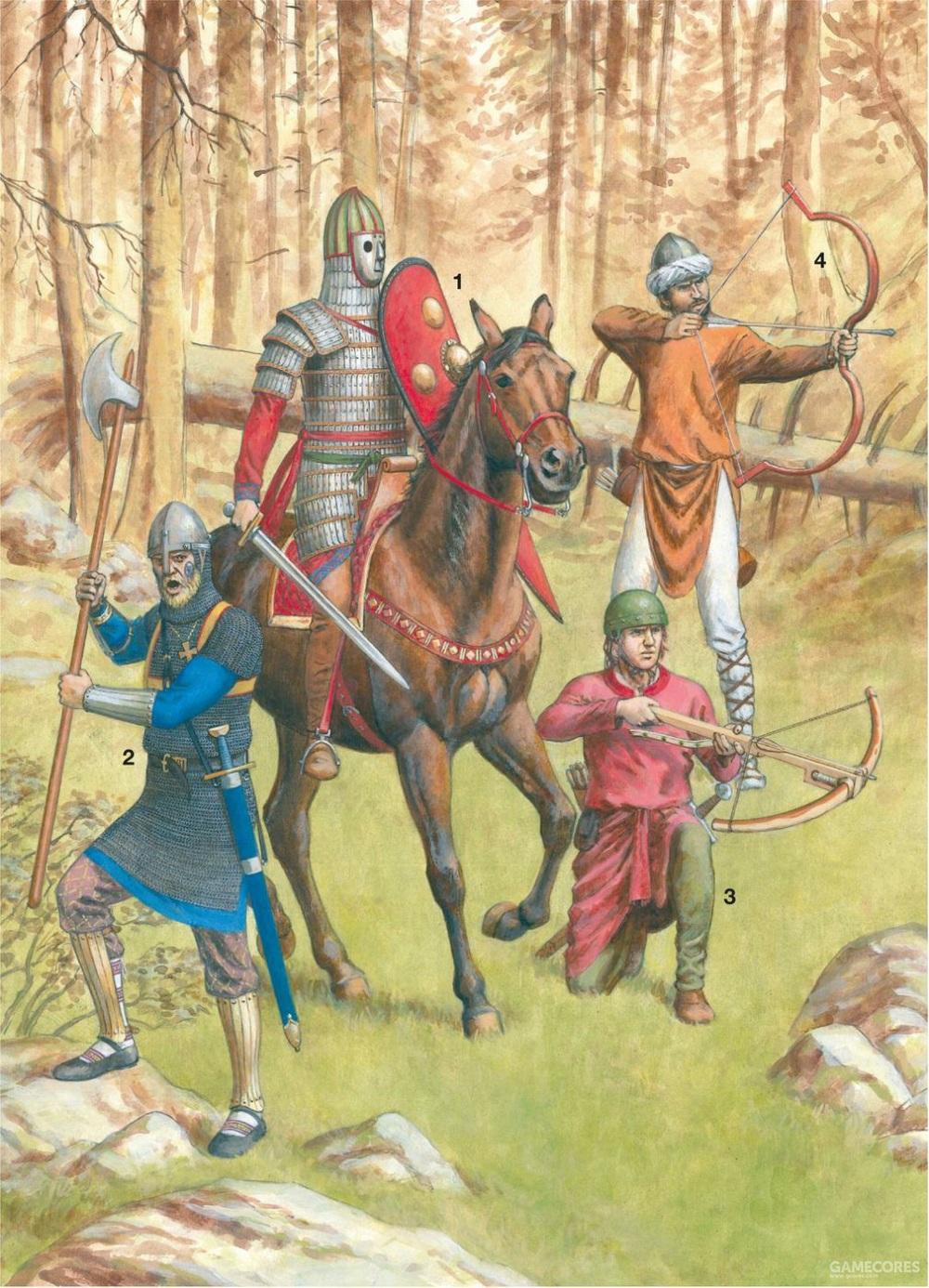 从左到右,瓦兰吉卫队,意大利的诺曼骑士,诺曼弩手,撒拉逊弓箭手