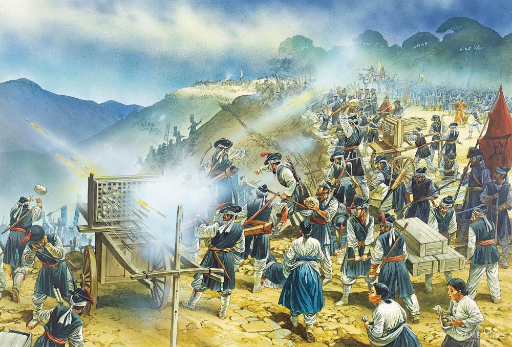 幸州围攻战期间,朝鲜守军使用火车防御。他们较为缺乏先进的火器,特别是火枪。