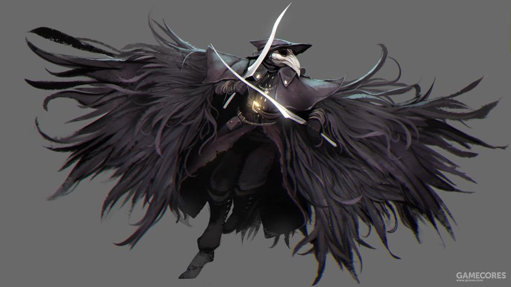 """游戏《血源诅咒》中佩戴着鸟喙面具的猎人——""""乌鸦""""艾琳"""
