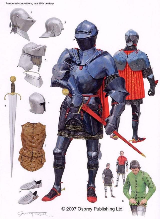 """意大利""""康多铁里""""佣兵,身着全套米兰盔甲"""