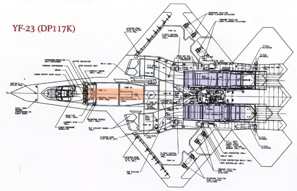 在YF-23采用的DP117K构型中,武器舱为单一大型弹舱设计。