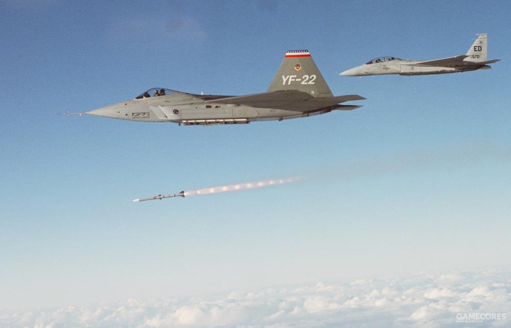 1990年12月20日太平洋导弹试验场,YF-22 PAV-2从主弹舱成功发射了一枚AIM-120A。