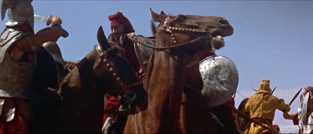 片中的格拉尼库斯河之战,骑砍场景看起来很……假,毕竟当时特效水平不佳