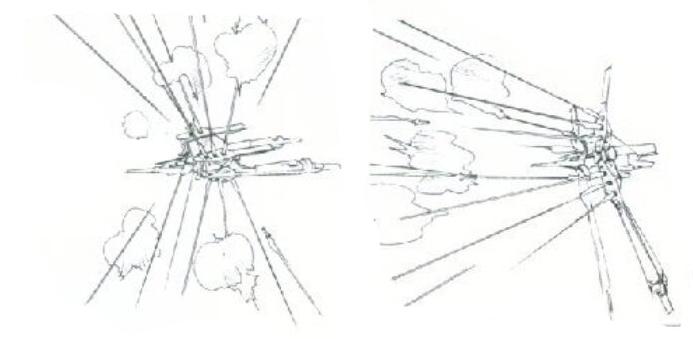 除了向各个方向发射刺猬般的火力。上下部分可以同时向前展开,使光束炮火力全部朝向正面。