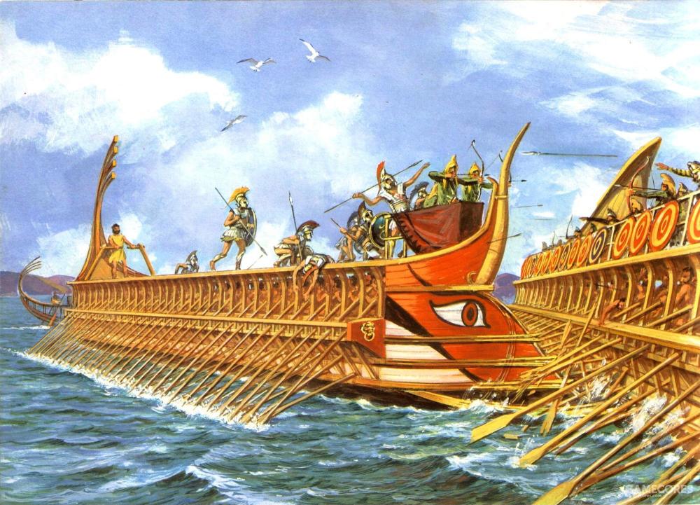 战斗时桅杆和栏杆都已放倒,增加灵活性,减少被抓钩钩上的几率