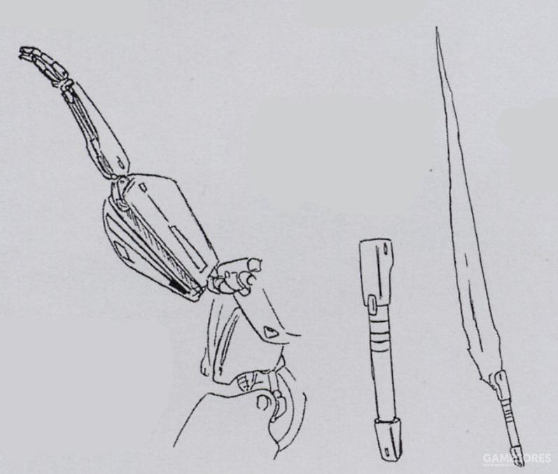 PMX-003搭载的光束军刀输出功率为0.39MW级,基本就是现有装备进行小幅改造而来的装备。而真正能够发挥光束军刀作战能力的则是PMX-003前方裙甲下隐藏的机械臂。