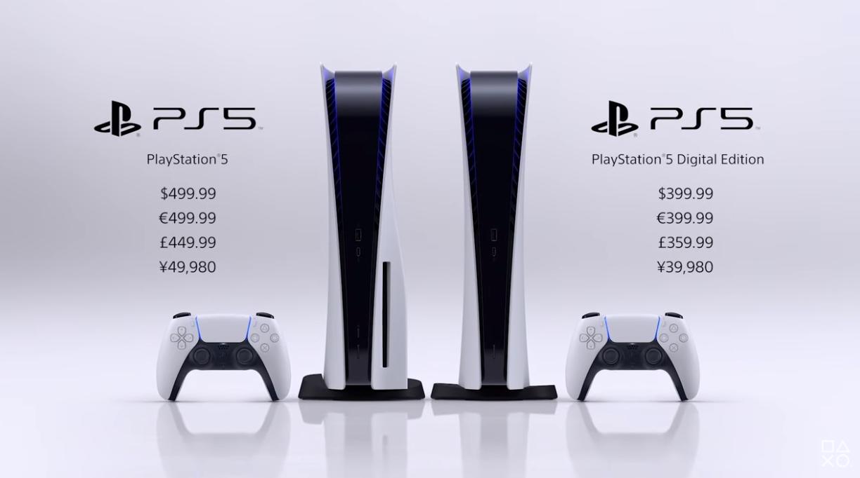 PlayStation 5标准版售价499.99美元,无光驱版售价399.99美元