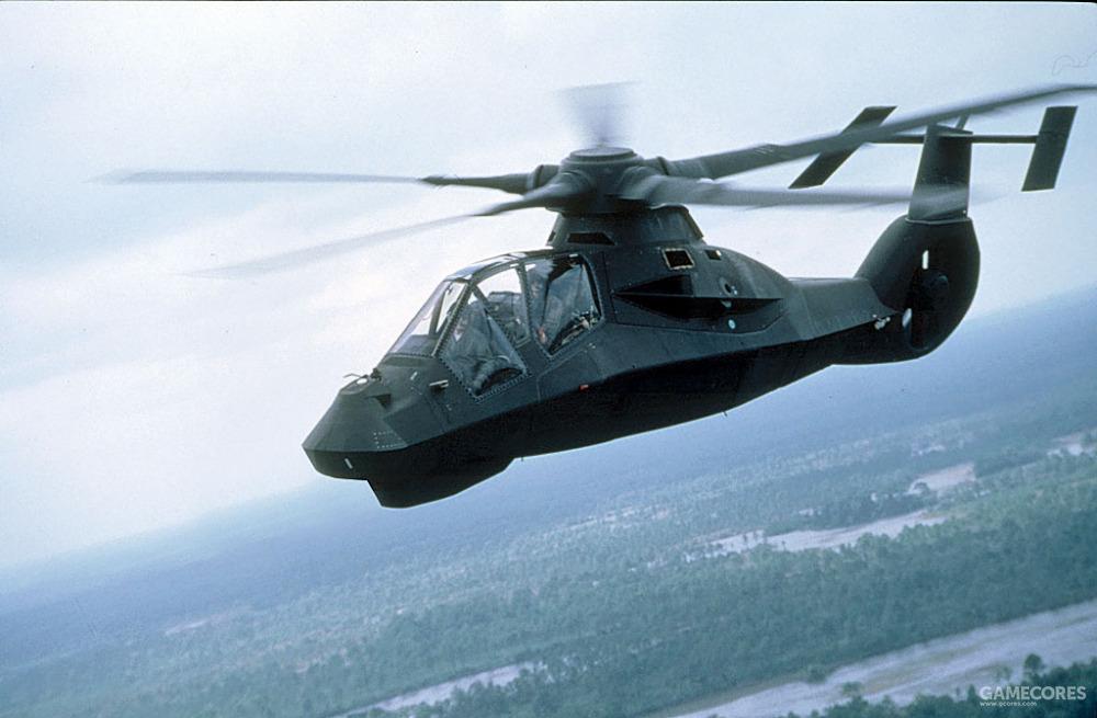飞行中的RAH-66,该机采用了收纳式弹舱,并降低了旋翼噪音