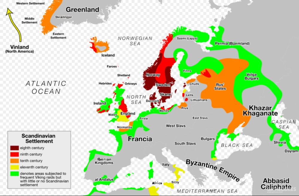8世纪-11世纪维京人在欧洲扩张的示意图