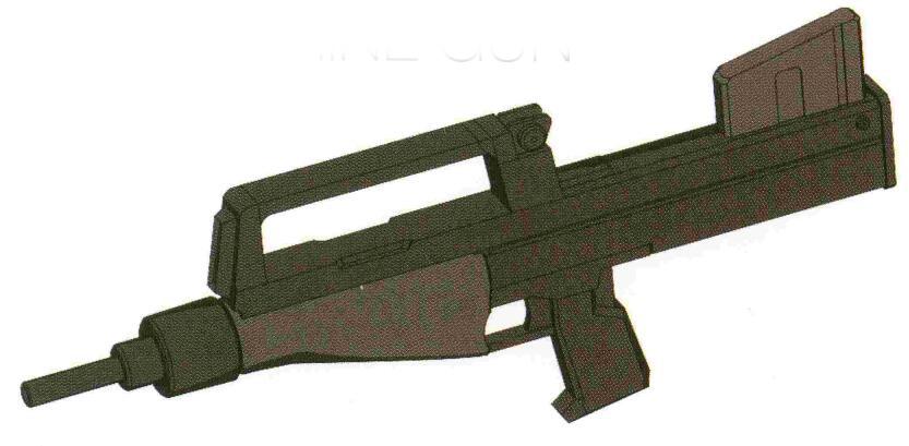GMG.M79-90MM机枪被作为RGM-79的标准武器采用。为了减少故障率。原本30发式弹舱被20发弹舱替代。该型武器在陆战战场基本替代了BR-M-79C-1成为标配武装。并且逐步取代了RGM-79[G]等陆战专用型号所用的YF-MG100机枪