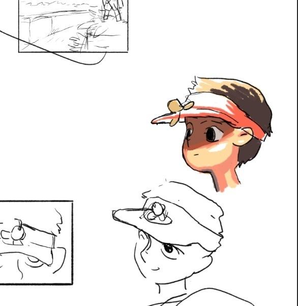 本来是给小男孩带了一个风扇帽,但是想到工作量太大就取消了