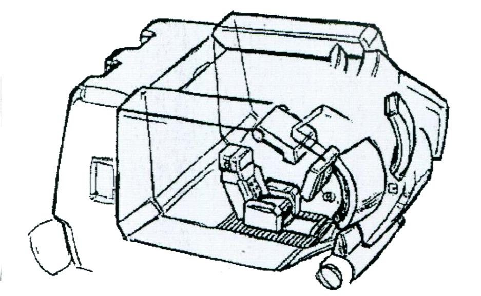 MS-06F2的驾驶舱替换为了第二期MS标准样式。为了容纳标准驾驶舱,整个胸口结构大幅变厚,且驾驶舱也移动到了正中位置。不过入口依旧在胸口两侧位置。胸口T字形装甲大幅加厚以改善该型号的生存性。而胸口本体也大幅变厚以容纳全新的标准化驾驶舱。