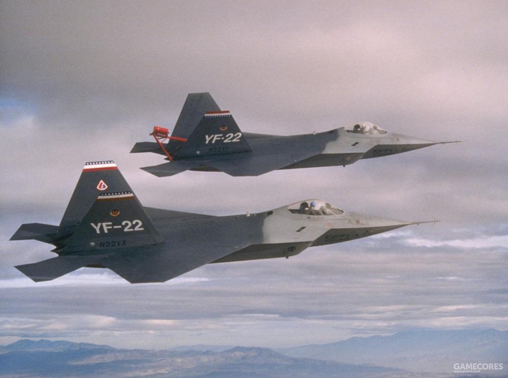 1990年12月11日,即YF-22 PAV-1刚刚完成高功角试飞项目后,两架YF-22进行了首次编队飞行。PAV-1尾部的红色结构就是反尾旋伞。