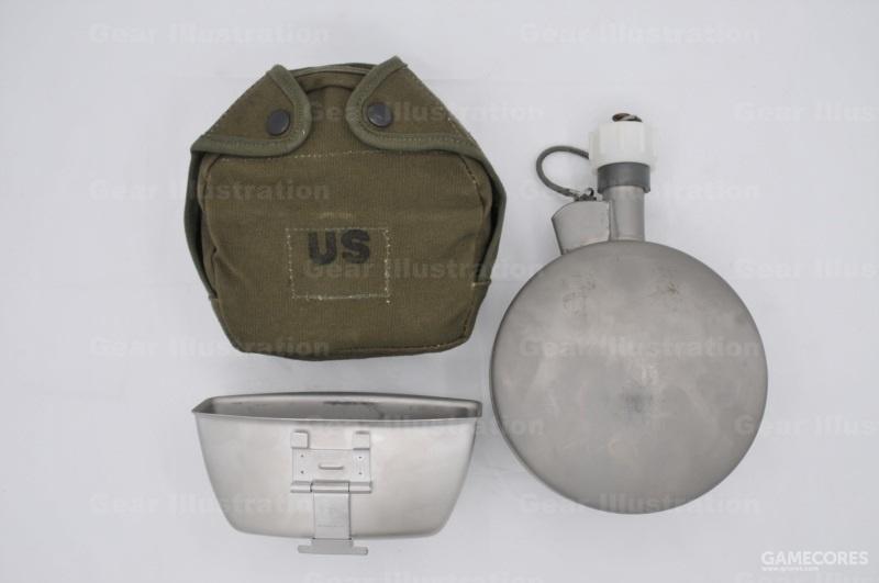 越战时期圆形不锈钢保温水壶,一夸脱容量