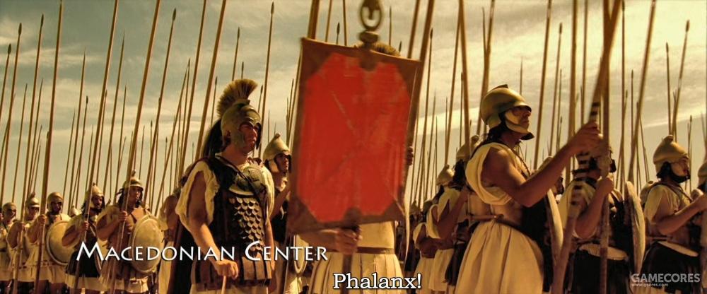 马其顿步兵前五排放低长枪,后五排斜向上抬起长枪,最后六排竖直长枪。这一密集的长枪林足以让敌军的弓箭和投枪偏移,无害地落在地上