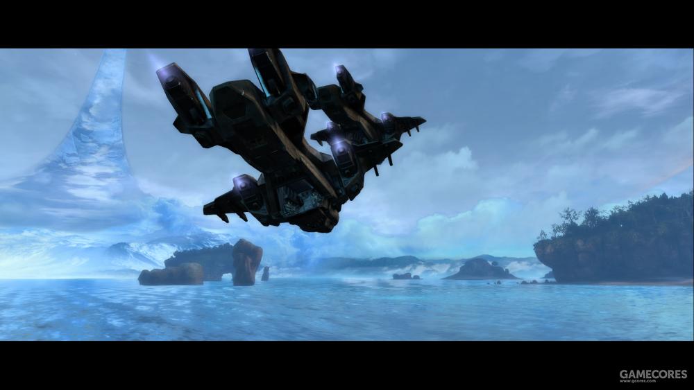 """04特区""""阿尔法环带""""(Installation 04 Alpha Halo)上空的D77-TC编队,2552年9月20日。左后为Echo-419""""仇敌克星""""。"""