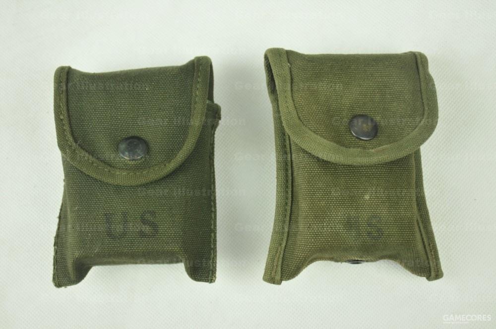 M-1956 LCE装具指北针/急救包,左边是早期版,右边是后期版