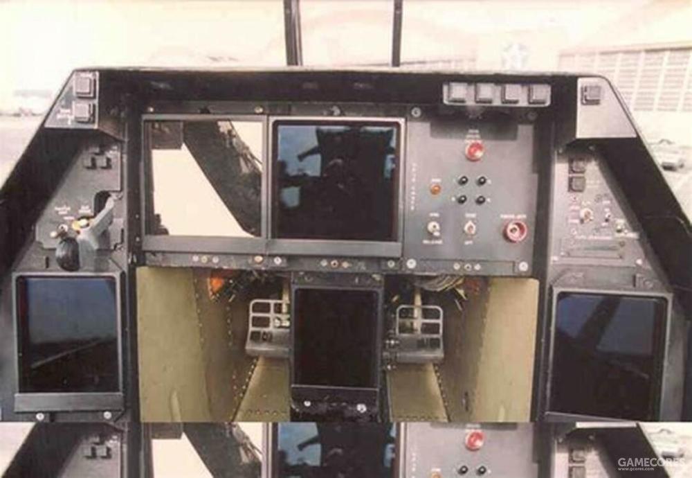 仪表板右上方就有一台CRT显示器用于配合试飞科目的可视化监测需求。视试飞科目需求,YF-22仪表板右上方的CRT显示器可以替换为其他项目的控制面板。