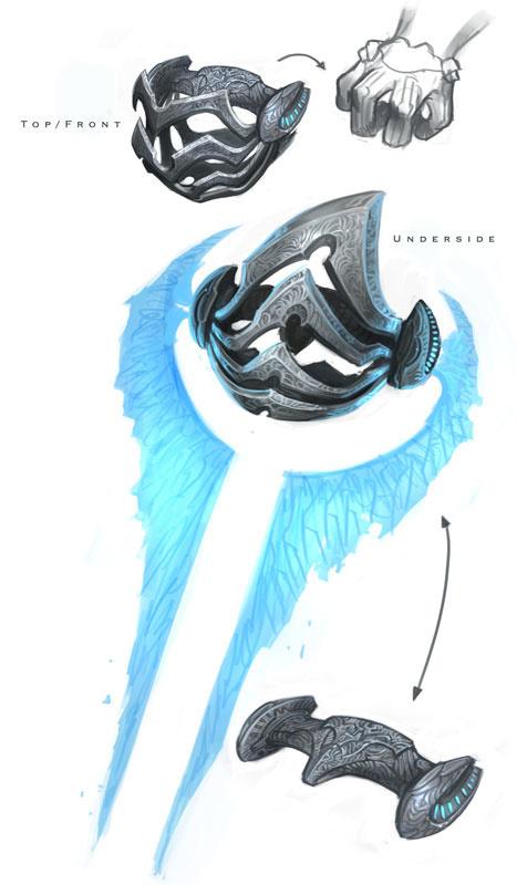 能量剑的抓握设计图,注意Sanghili战士手指的分布。这柄剑是神风烈士的。