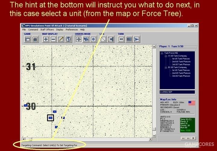 底部的提示将指引你如果进行下一步操作,在本教程中,选择一个单位(从地图上或部队编制面板)。