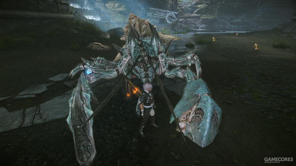盾镰破位的样子,这面盾牌已经无法保护武镰蟹了