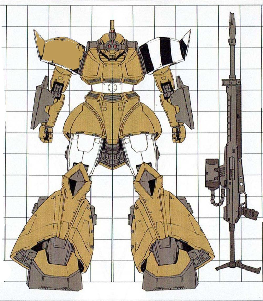 更为特殊的案例还有MS-14C-1。其在主传感器外安装了MS-06E-3的三眼式传感器。而其武器除了吉翁产光束步枪外,甚至改装装备过一门缴获的XBR-79YK型光束步枪。