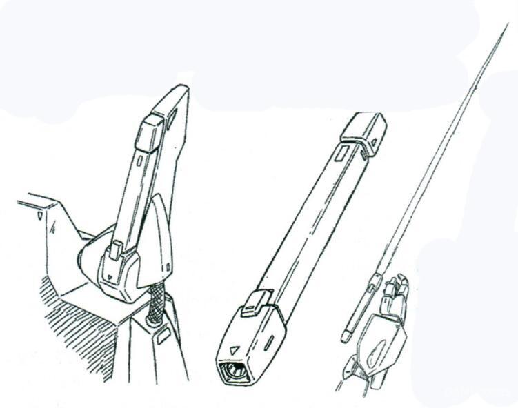 两个光束军刀基座安装于背包两侧,和辅助推进器呈一体化结构。配备的两把XB-G-1048L光束军刀,输出功率为0.45MW。该型号光束军刀握柄属于光束军刀中不多见的方形样式。