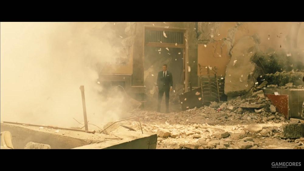 《007:幽灵党》如何体现一个人临危不乱,简单,他身边全是爆炸