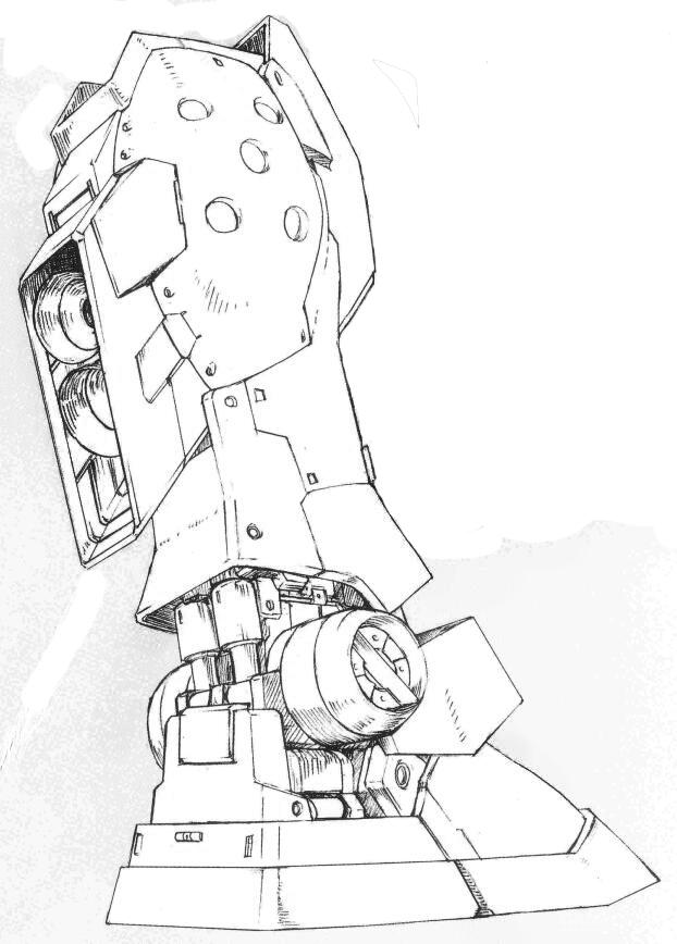 小腿部位的推进器型号和RGM-79SC所安装的推进器型号一致,RGM-79SP在周围安装了装甲防护板。