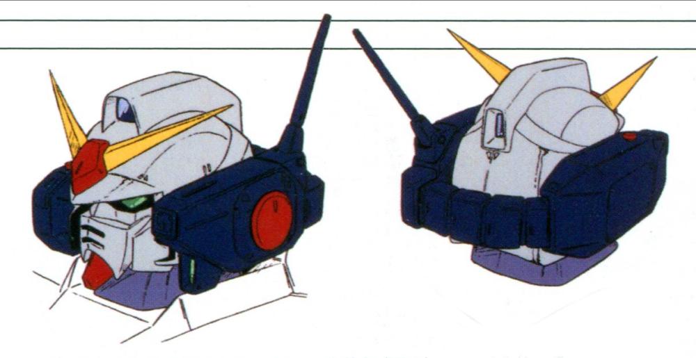 相比传统联邦系MS,变化最大的是头部火神炮系统。由于头部电子设备增加,内部空间紧张。设计时,对于MS头部火神炮系统是否必要处于摇摆状态。最终选择了载弹量更大的外挂式火神炮荚舱方案。火神炮荚舱型号VCU-505EX-Gry/Ver.009。两侧的荚舱中一侧为弹药仓一侧为火神炮和相关的瞄准设备,通过头部后方的输送带传输弹药。