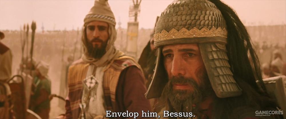 贝苏斯被下令从外侧包抄亚历山大的骑兵