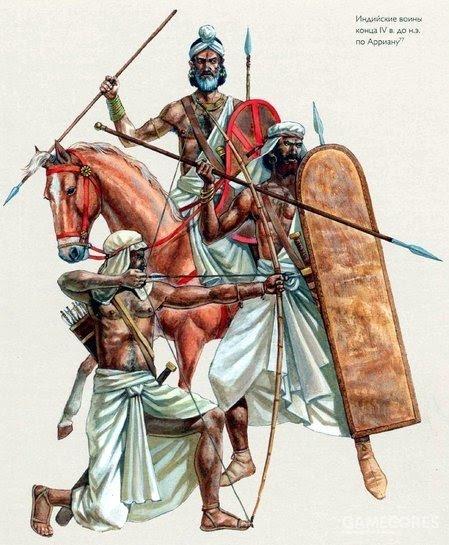 印度长矛兵,轻骑兵和弓箭手。印度长弓由竹子制作,造型细长,这把强弓凭借着铁制箭头甚至可以射穿马其顿的盾牌和盔甲
