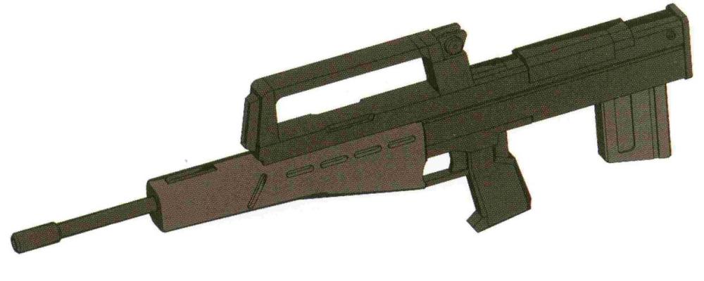 HWF GR-MR82-90MM吉姆步枪基本是以HWF GR-MLR79为基础简化而来的。为新锐MS配备实弹机枪一方面处于成本考虑,一方面也是考虑到越来越普及的抗光束涂层对于半吊子水平的光束喷枪威力削弱非常严重。