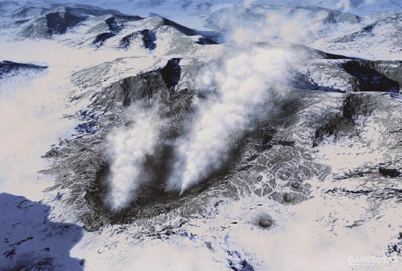 Krasinsky陨石坑,位于大陆Shezna山脉,因为是雪山,至今还能见到中心会有水蒸气冒出