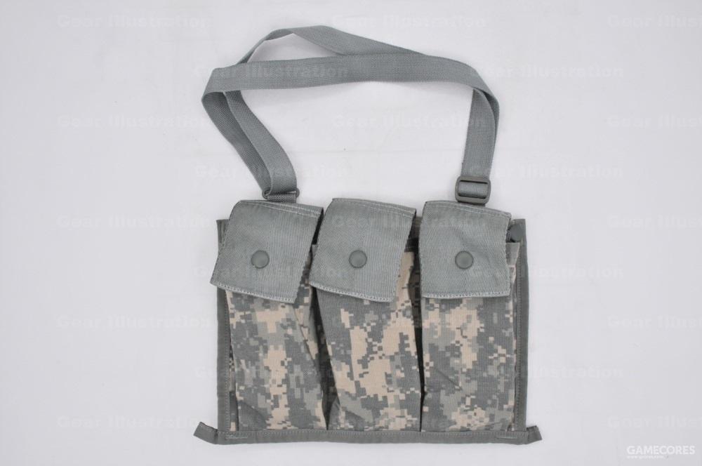 MOLLE II装具系统里的斜挎弹药袋,可容纳6个M16步枪弹匣。还可以用按扣固定到突击包的副仓里