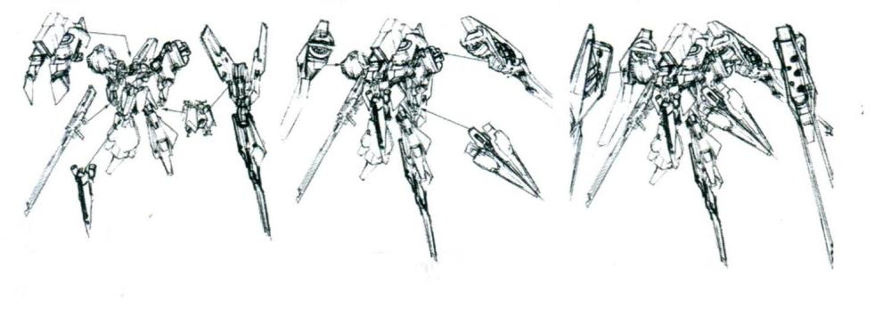 作为核心机的ORX-005本身修改不多。TR-5[Fiver]的机能都由各种附加模块实现。