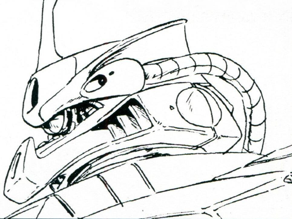 头部风格非常鲜明的体现了原吉翁技术人员的存在感,除了新型的独眼式传感器外,顶部甚至安装了角状的通讯天线。整体轮廓造型更是酷似MS-14。不过出于技术备份的考虑,眼部传感器有双眼式传感器的备份接口。