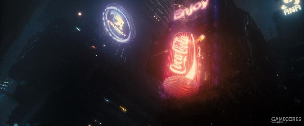 《2049》中的可口可乐,左边是标致(PEUGEOT),右边是全日本空输株式会社(ANA)